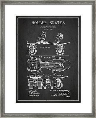 Roller Skate Patent Drawing From 1879 - Dark Framed Print by Aged Pixel