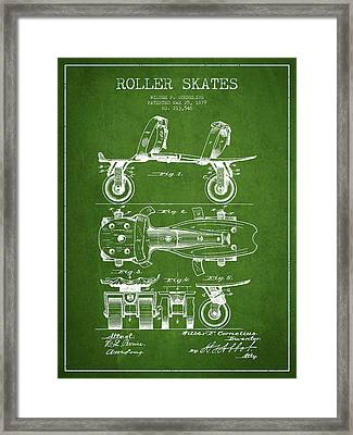 Roller Skate Patent Drawing From 1879 - Green Framed Print by Aged Pixel