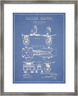 Roller Skate Patent Drawing From 1879 - Light Blue Framed Print by Aged Pixel