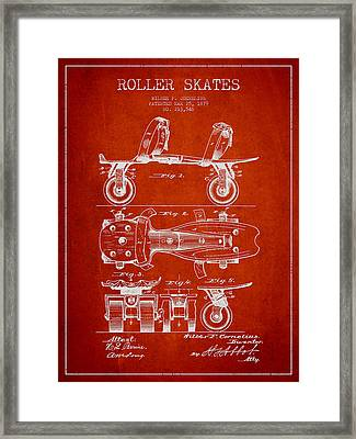 Roller Skate Patent Drawing From 1879 - Red Framed Print by Aged Pixel