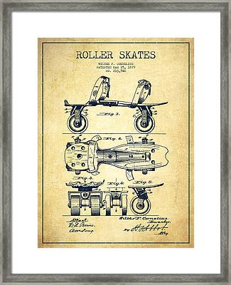 Roller Skate Patent Drawing From 1879 - Vintage Framed Print by Aged Pixel