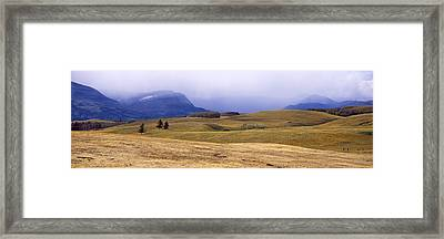 Rolling Landscape With Mountains Framed Print by Panoramic Images