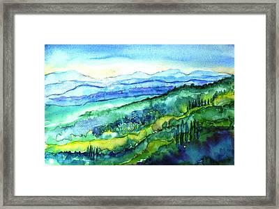 Rolling Tuscan Landscape Framed Print by Trudi Doyle