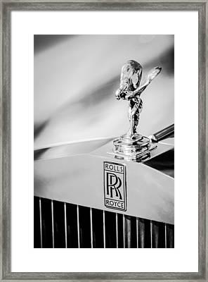 Rolls-royce Hood Ornament -782bw Framed Print by Jill Reger