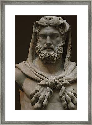 Roman Art. Marble Statue Of A Bearded Hercules Covered With Lions Skin. Early Imperial, Flavian Framed Print by Bridgeman Images