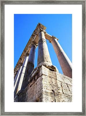 Roman Forum Pillars. Framed Print by Mark Williamson