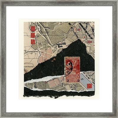Roman Map Collage Framed Print by Carol Leigh