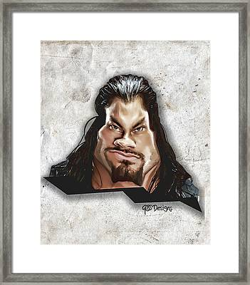 Roman Reigns Caricature By Gbs Framed Print by Anibal Diaz
