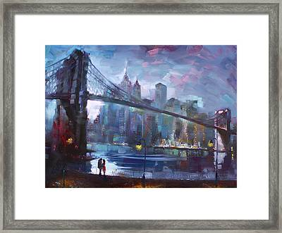 Romance By East River II Framed Print by Ylli Haruni