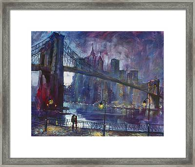 Romance By East River Nyc Framed Print by Ylli Haruni