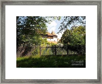 Romanian Fortified Church Framed Print by Ramona Matei