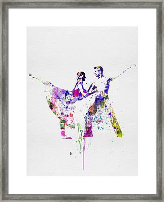Romantic Ballet Watercolor 2 Framed Print by Naxart Studio