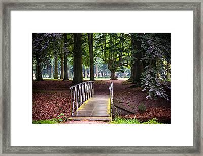 Romantic Bridge To Shadow Place. De Haar Castle Framed Print by Jenny Rainbow