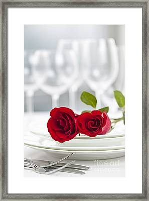 Romantic Dinner Setting Framed Print by Elena Elisseeva