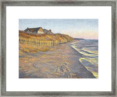 Heart In Sand Framed Print featuring the painting Romantic Getaway by Lucie Bilodeau