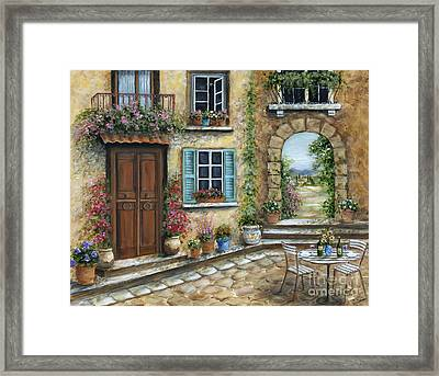 Romantic Tuscan Courtyard Framed Print by Marilyn Dunlap