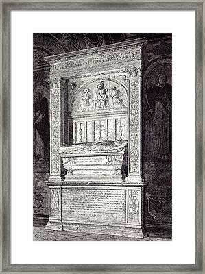 Rome Italy 1875 Tomb Of Cardinal Ferrici At The Minerva Framed Print by Italian School