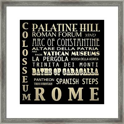 Rome Italy Famous Landmarks Framed Print by Patricia Lintner