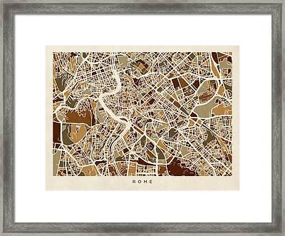 Rome Italy Street Map Framed Print by Michael Tompsett