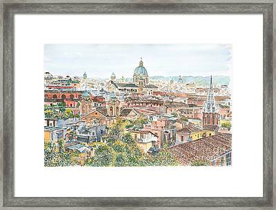 Rome Overview From The Borghese Gardens Framed Print by Anthony Butera
