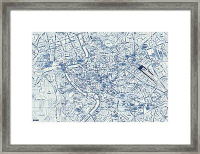 Rome Street Map Framed Print by Dan Sproul