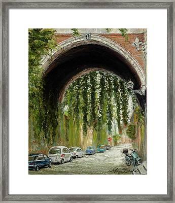Rome Street Scene Framed Print by Mary Benke