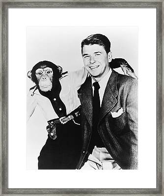 Ronald Reagan And Bonzo Framed Print by Underwood Archives