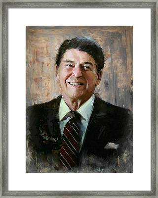 Ronald Reagan Portrait 7 Framed Print by Corporate Art Task Force
