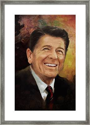 Ronald Reagan Portrait 8 Framed Print by Corporate Art Task Force
