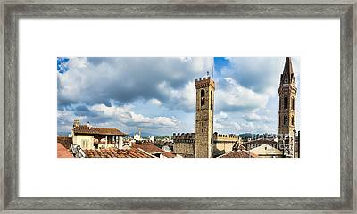 Roofs In Florence Italy Framed Print by Frank Bach