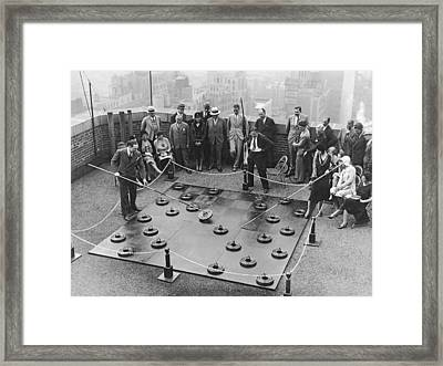 Rooftop Giant Checkers Game Framed Print by Underwood Archives