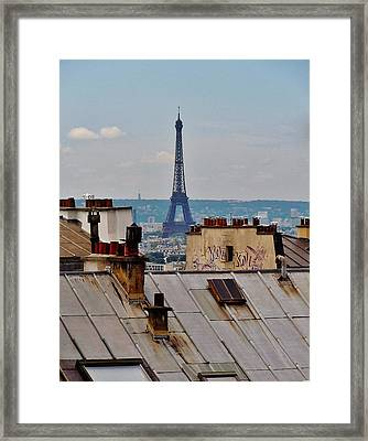 Rooftops Of Paris And Eiffel Tower Framed Print by Marilyn Dunlap
