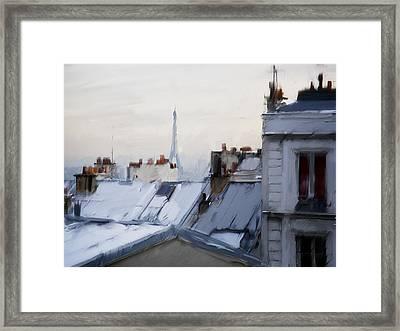 Rooftops Of Paris Framed Print by H James Hoff
