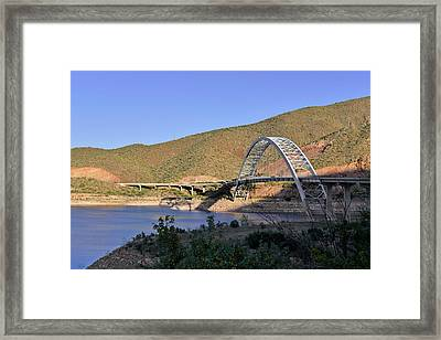 Roosevelt Lake Bridge Arizona Framed Print by Christine Till