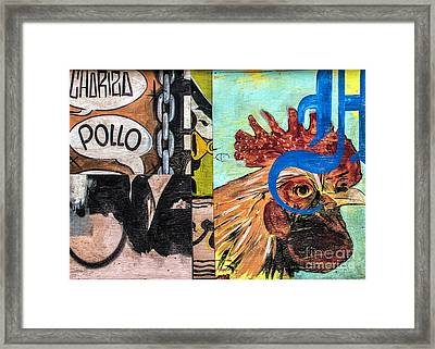Rooster Graffiti Framed Print by Terry Rowe
