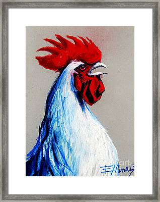 Rooster Head Framed Print by Mona Edulesco
