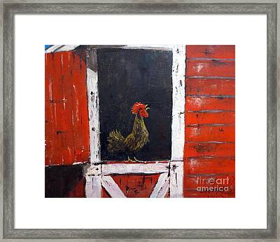 Rooster In Window Framed Print by Lee Piper