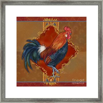 Rooster On Red And Gold II Framed Print by Shari Warren