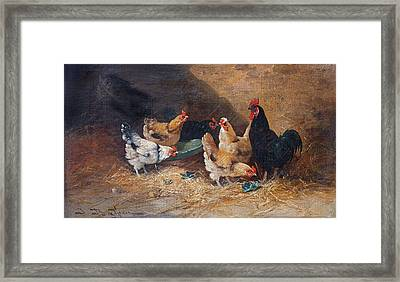 Roosters Circa 1880 Framed Print by David Lloyd Glover