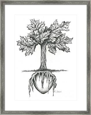 Roots Of The Heart Framed Print by Karen Sirard