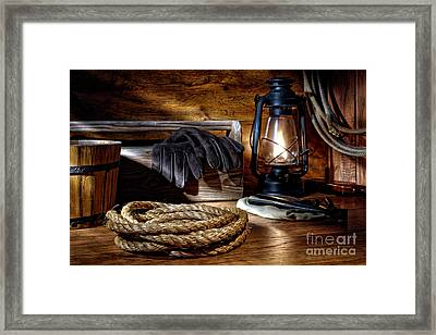Rope In The Ranch Barn Framed Print by Olivier Le Queinec