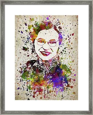 Rosa Parks In Color Framed Print by Aged Pixel