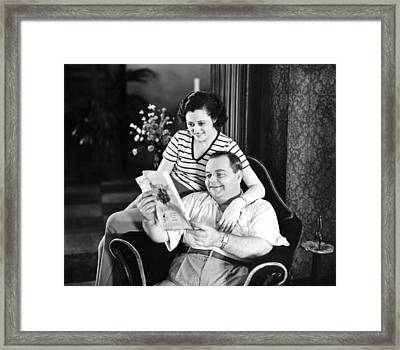 Roscoe Arbuckle & Addie Framed Print by Underwood Archives