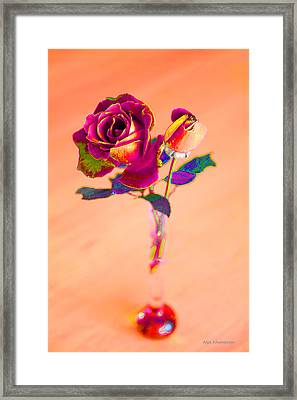 Rose For Love - Metaphysical Energy Art Print Framed Print by Alex Khomoutov