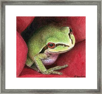 Rose Frog Framed Print by Pat Erickson