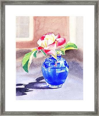 Rose In The Blue Vase  Framed Print by Irina Sztukowski