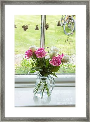 Rose Vase With Hearts Framed Print by Iris Richardson