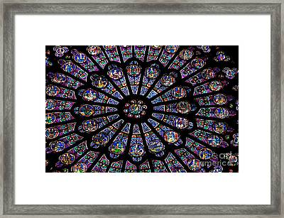 Rose Window .famous Stained Glass Window Inside Notre Dame Cathedral. Paris Framed Print by Bernard Jaubert