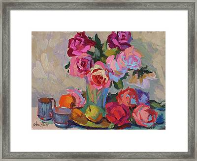 Roses And Apples Framed Print by Diane McClary