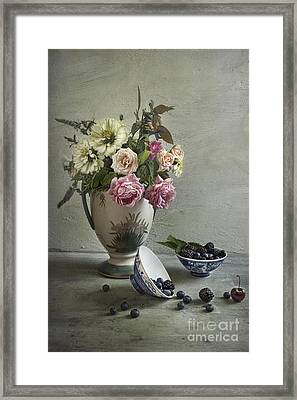 Roses And Berries Framed Print by Elena Nosyreva